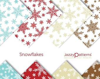 Snowflakes digital paper pack for scrapbooking DP043 instant download
