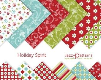 Christmas digital paper pack printable Holiday Spirit DP042 instant download