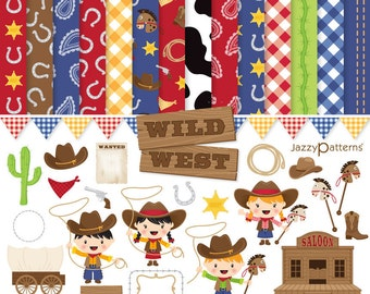 Little cowboys clipart and digital papers pack for scrapbooking Wild West DK007 instant download