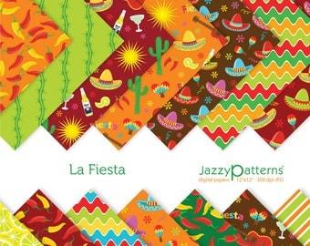Fiesta digital scrapbooking paper pack La Fiesta DP082 instant download