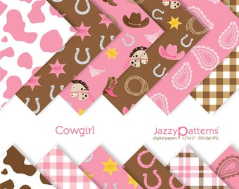 Cowgirl digital papers in pink and brown DP083 instant download
