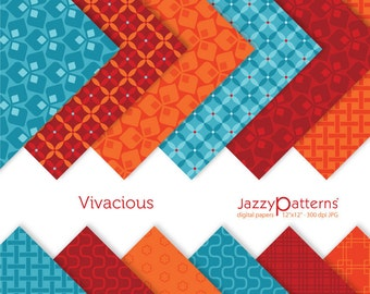 Vivacious digital paper pack for scrapbooking, cards, invitations, tags  DP014 instant download