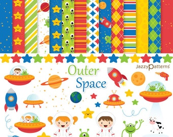 Space clipart digital paper pack DK010 instant download