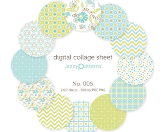 Digital collage sheet  2.25 inch circles for pocket mirrors, buttons  No.005 instant download