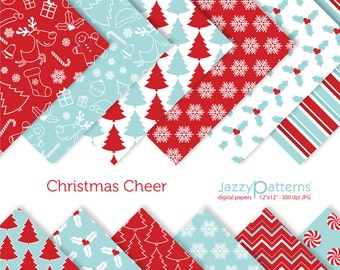 Christmas digital paper pack in red and blue Christmas Cheer DP089 instant download