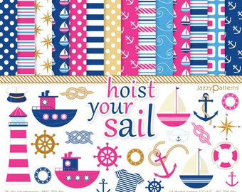Nautical clipart and digital papers pack in hot pink and navy Hoist Your Sail DK018 instant download