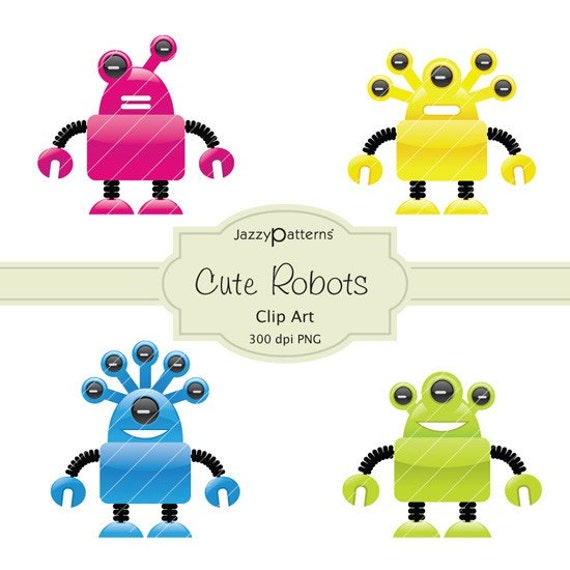 Items similar to Cute Robots Clip Art (CA013) on Etsy