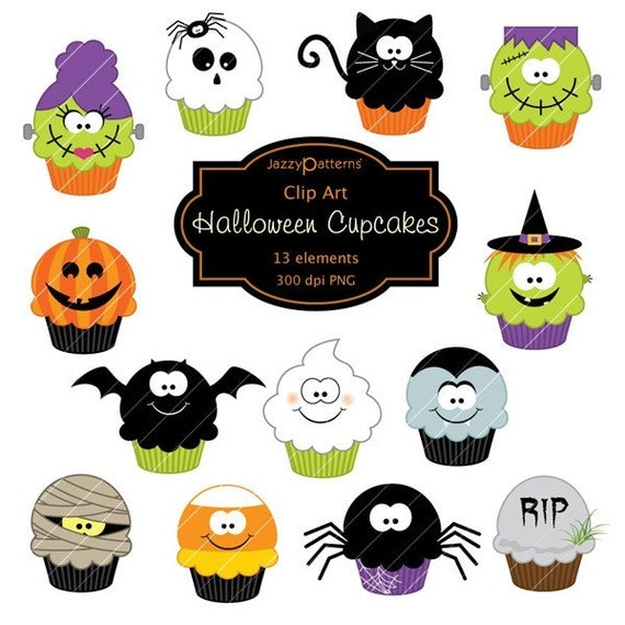 Halloween clipart Cupcakes CA014 instant download