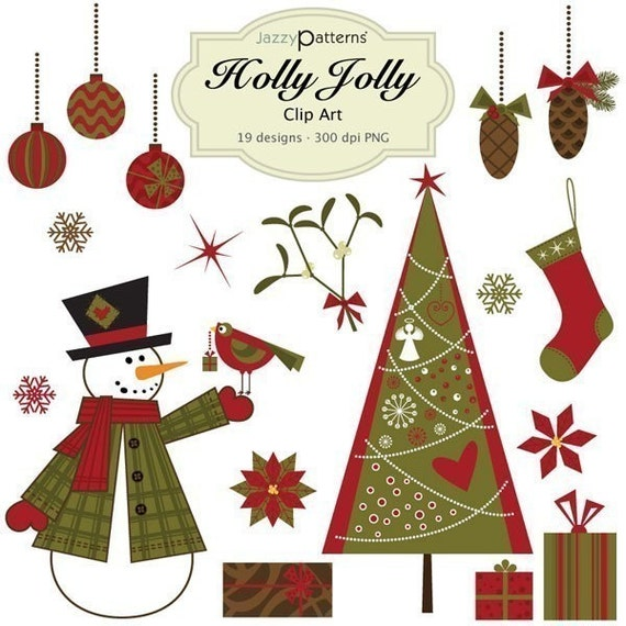 Holly Jolly Christmas clipart collection CA003 instant download