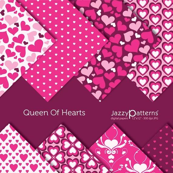 Valentine digital scrapbooking paper pack Queen Of Hearts DP044 instant download