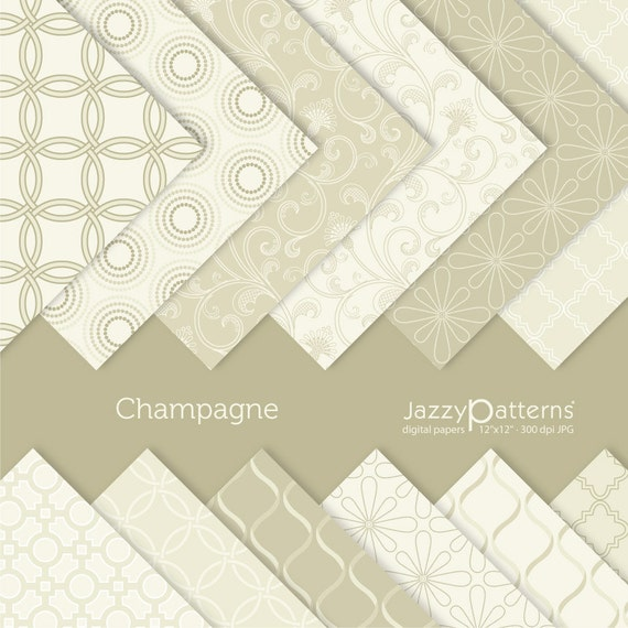 Champagne digital scrapbooking paper pack DP059 instant download