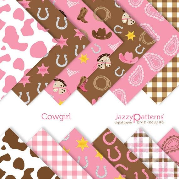 Cowgirl digital scrapbooking paper pack DP083 instant download
