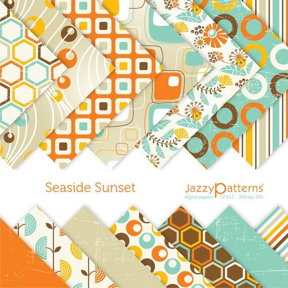 Seaside Sunset digital paper pack fpr scrapbooking DP085 instant download