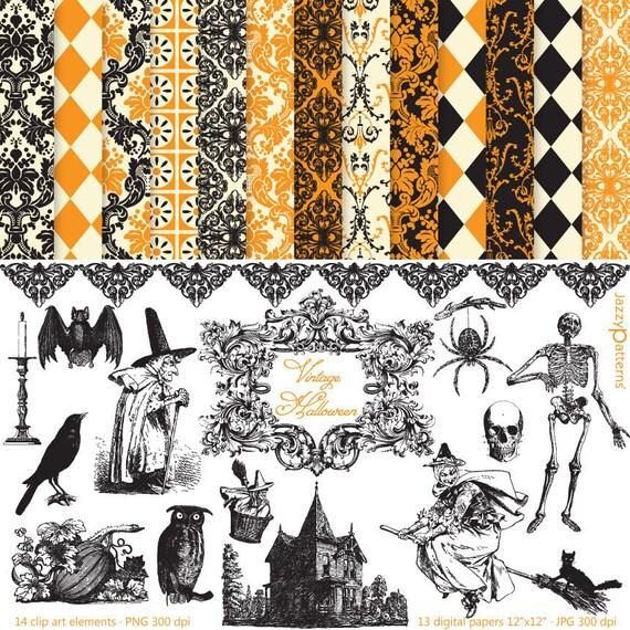Vintage Halloween clipart and digital paper pack (DK014)