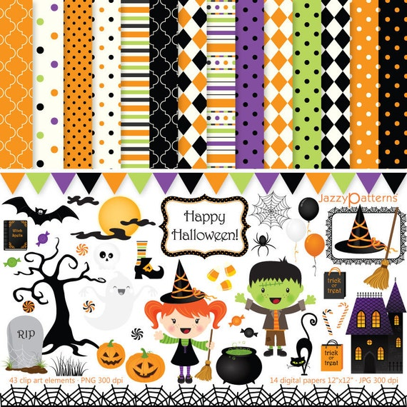 Halloween clipart and digital papers scrapbook pack Happy Halloween DK013 instant download