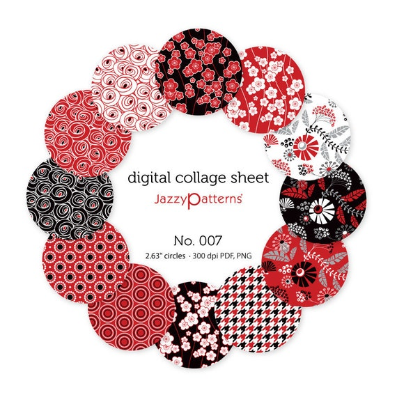 Digital collage sheet 2.25 inch circles for pocket mirrors, button badges  No.007 instant download