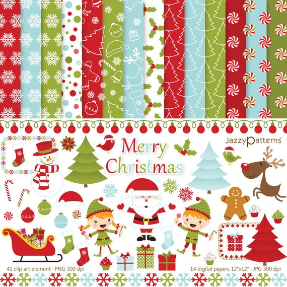 Christmas clipart and digital paper pack printable Merry Christmas DK015 instant download