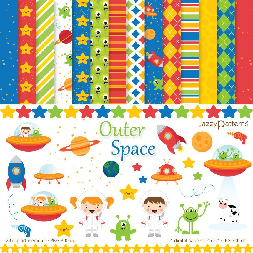 Outer space clipart digital paper pack dk010 by jazzypatterns for Outer space paper