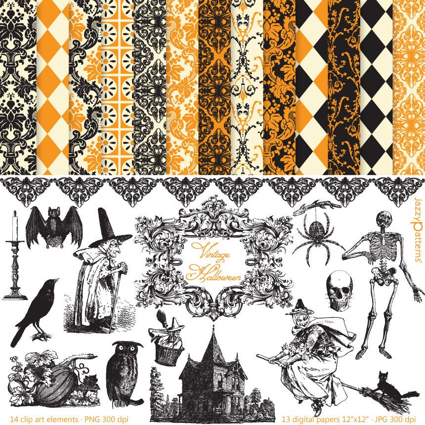 Vintage Halloween clipart and digital paper pack DK014