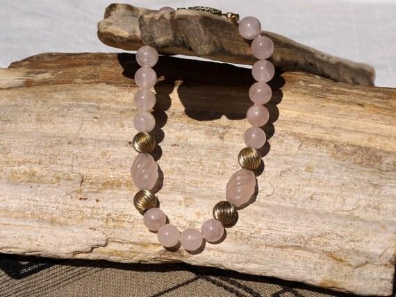 Carved rose quartz bead bracelet