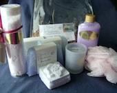 Spa Gift Set- Soaps, Lotion, Bath Salt, Fizzy, Candle/Holder, Pouf-Vinyl Handled Bag-U choose Scent -Mothers Day Gift