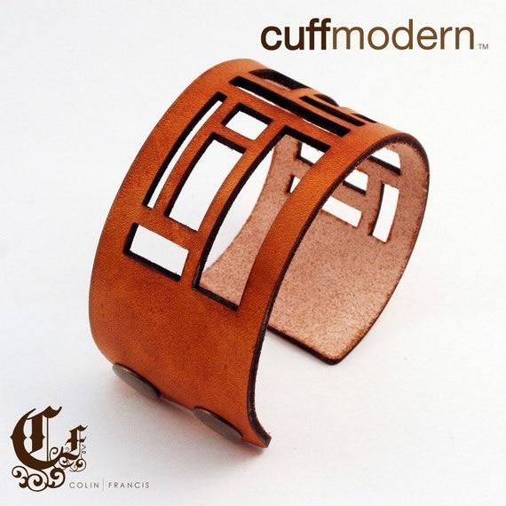panes...leather laser cut cuff bracelet