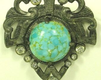 Vintage Signed Artisan N.Y. Veined Turquoise Pin