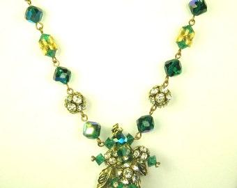 Vintage Hattie Carnegie Green Aurora Borealis Glass Floral Necklace