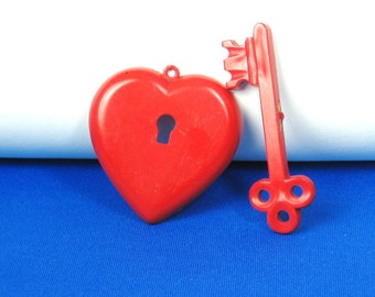 Vintage Red Plastic Pin Valentine Key of My Heart