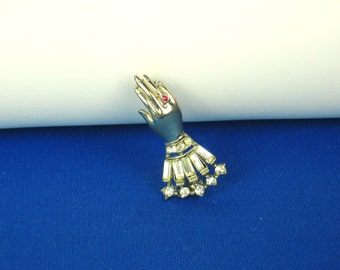 Vintage Rhodium Plated Metal Rhinestone Accent Hand Pin