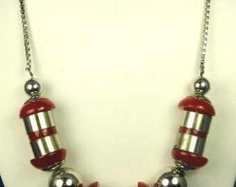 1920s Jakob Bengel Chrome Bead and Galalith Necklace