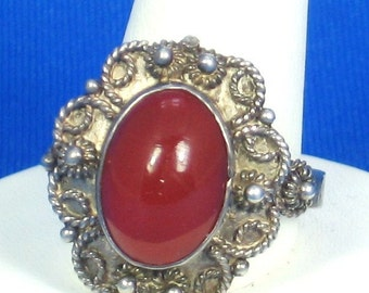950 Fineness Metal and Carnelian Cabochon Ring