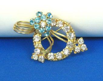 Vintage White and Blue Rhinestone Floral Pin