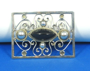 Mexico Sterling Silver and Black Glass Pin
