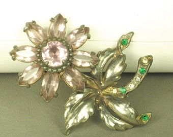 Vintage Lavender Glass Stone Movable Flower Pin