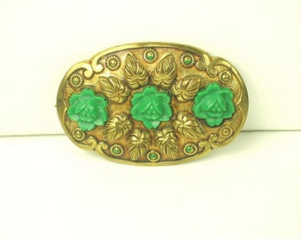 Vintage Green Plastic Floral Pin