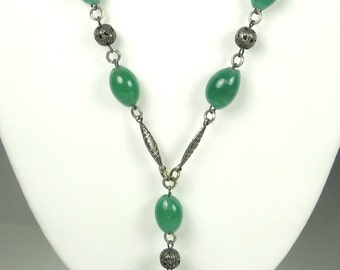 Vintage Filigree Metal and Green Glass Necklace