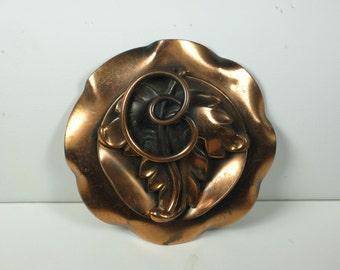 Vintage Roslyn Hoffman Brass Floral Pendant Pin