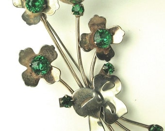Vintage 925 Sterling and Green Rhinestone Floral Pin