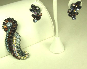 Rare Claudette Amber and Light Blue Glass Pin and Earrings