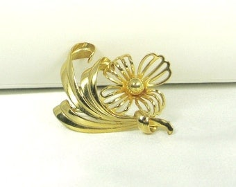 Vintage Flower Pin with Gold Tone Metal