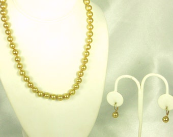 Vintage Hand Knotted Golden Beaded Necklace and Earrings