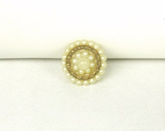Old Vintage Round Imitation Pearl Pin