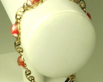 Vintage Multi-Colored Plastic Cabochon Link Bracelet