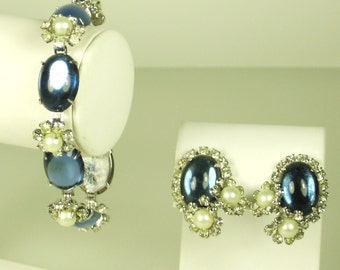 Hattie Carnegie Glass and Faux Pearl Bracelet and Earrings
