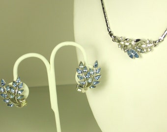 Trifari Blue Glass Jeweled Necklace and Earrings