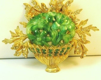 Vintage Hattie Carnegie Green Glass Flower Basket Pin