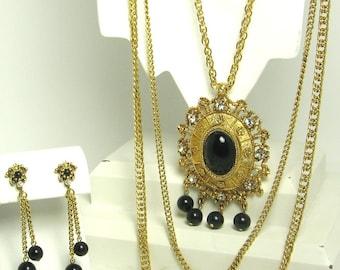 Vintage Celebrity Black Plastic Necklace and Earrings Set