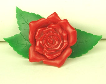 Plastic Rose Floral Pin by Cauver Chicago