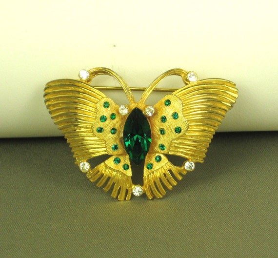 Kramer Green and White Glass Butterfly Brooch